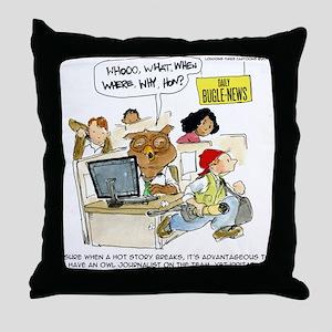 Owl Journalists Throw Pillow