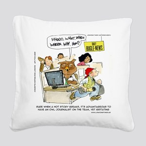 Owl Journalists Square Canvas Pillow