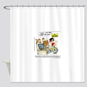 Owl Journalists Shower Curtain