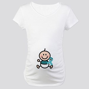 Turquoise Teal Awareness Ribbon baby Maternity T-S
