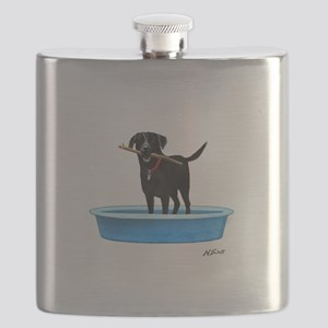 Black Labrador Retriever in kiddie pool Flask