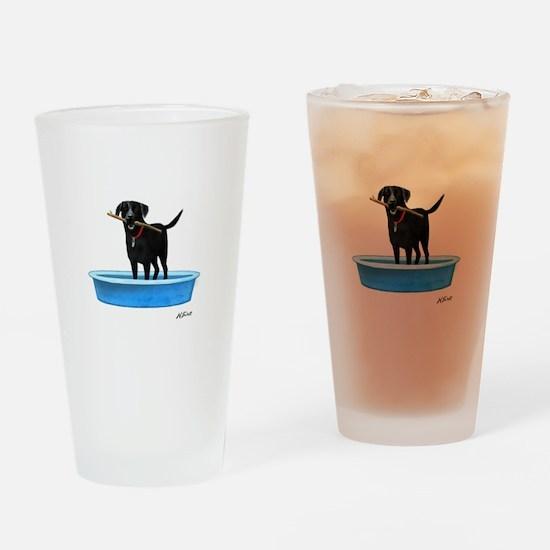 Black Labrador Retriever in kiddie pool Drinking G
