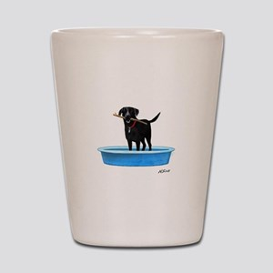 Black Labrador Retriever in kiddie pool Shot Glass