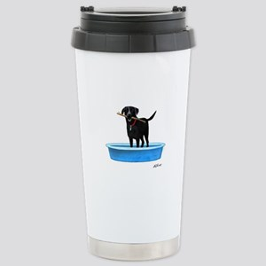 Black Labrador Retriever in kiddie pool Travel Mug