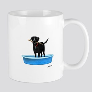 Black Labrador Retriever in kiddie pool Mugs