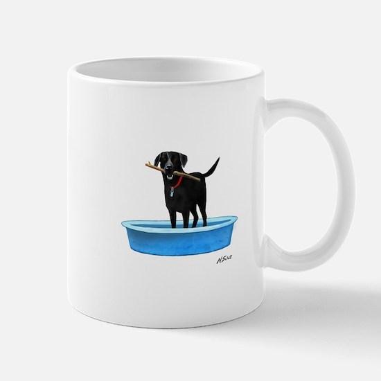 Black Labrador Retriever in kiddie pool Mugs