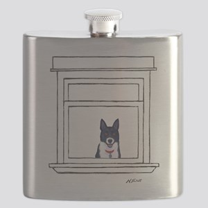 Border Collie in the Window Flask