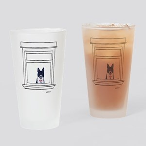 Border Collie in the Window Drinking Glass