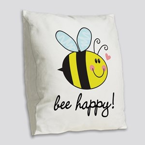 Bee Happy Burlap Throw Pillow