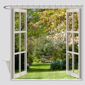 Spring Garden Through A Window Shower Curtain