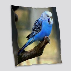 Blue Budgie Burlap Throw Pillow
