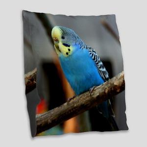 Budgie Flower Burlap Throw Pillow