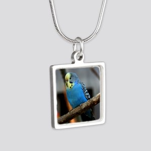Budgie Flower Silver Square Necklace