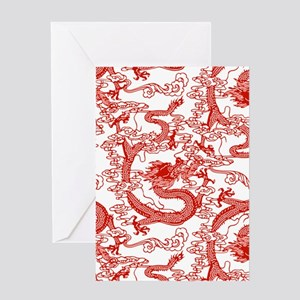 dragon-pattern_red-tr_9x9.png Greeting Cards