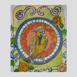 Golden Wren Mexican Colonial Style B Throw Blanket