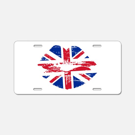 UK Flag Union Jack Lips Aluminum License Plate