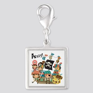 Pirates Ahoy Silver Square Charm