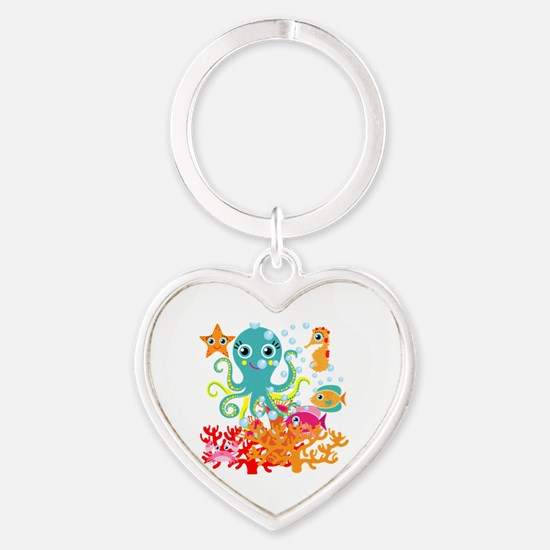 Welcome to the Ocean Heart Keychain