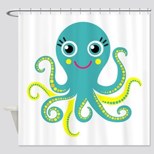 Blue And Yellow Octopus Shower Curtain