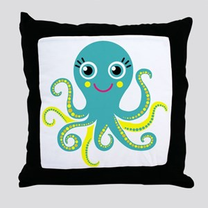 Blue and Yellow Octopus Throw Pillow