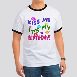 KISS ME ITS MY BIRTHDAY Rainbow Colors Ringer T