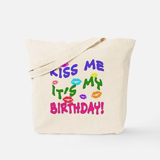 KISS ME ITS MY BIRTHDAY Rainbow Colors Tote Bag