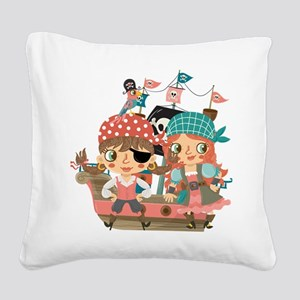 Girly Pirates Square Canvas Pillow