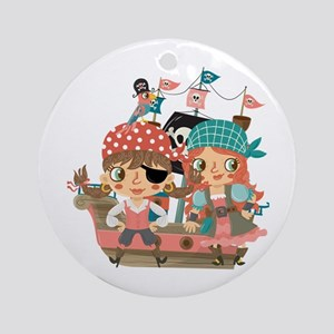 Girly Pirates Ornament (round)
