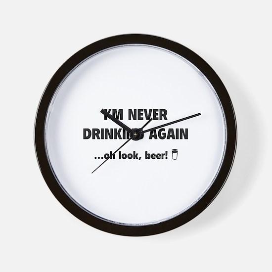 I'm Never Drinking Again Wall Clock