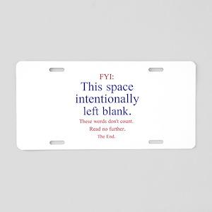 Intentionally Left Blank Aluminum License Plate