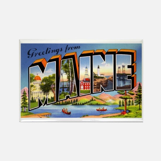 Maine Greetings Rectangle Magnet