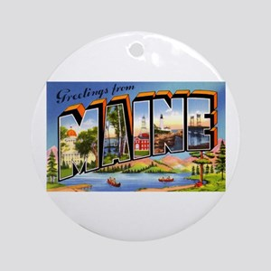 Maine Greetings Ornament (Round)