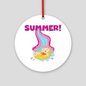 Blond Girl Summer Ornament (Round)