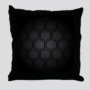 Carbon Fiber Hex Tiles Throw Pillow