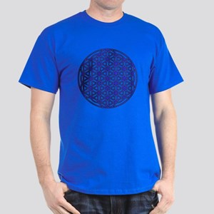 Flower of Life Single Blue Dark T-Shirt