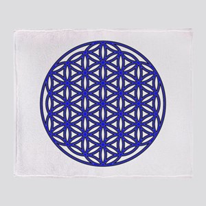 Flower of Life Single Blue Throw Blanket