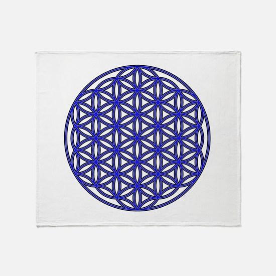 Flower of Life Single Blue Throw Blanket
