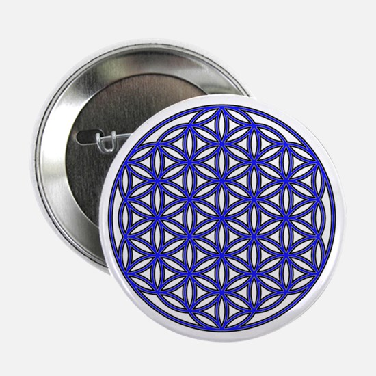 """Flower of Life Single Blue 2.25"""" Button"""