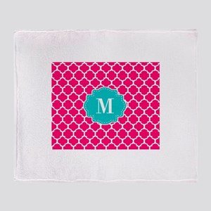 Pink Teal Quatrefoil Monogram Throw Blanket