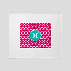 Pink Teal Quatrefoil Monogram Throw Blanket