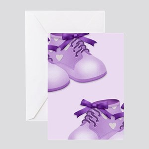 Purple Baby Shoes Greeting Cards