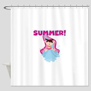 Brunette Girl Summer Shower Curtain