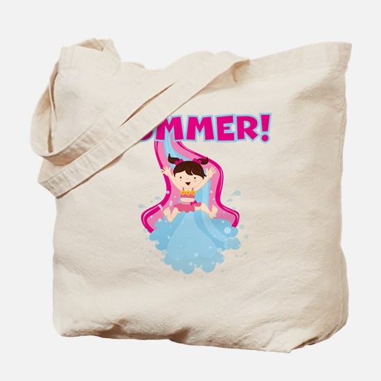 Brunette Girl Summer Tote Bag