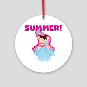 Brunette Girl Summer Ornament (Round)