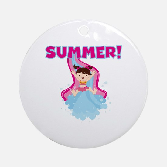 Brunette Girl Summer Ornament (Round)