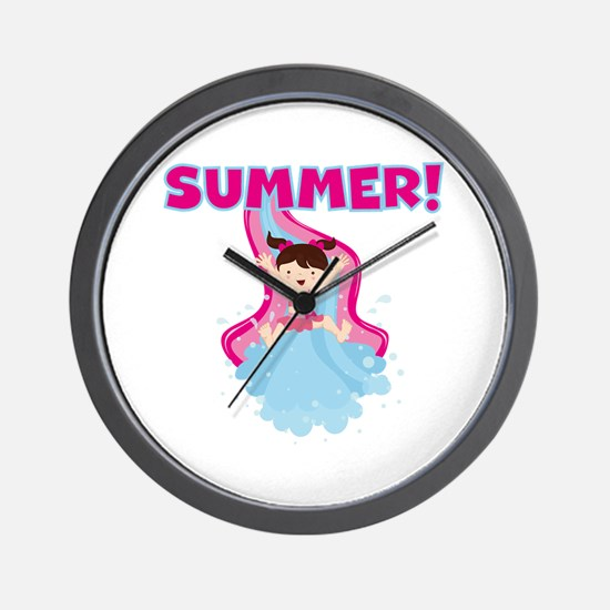 Brunette Girl Summer Wall Clock