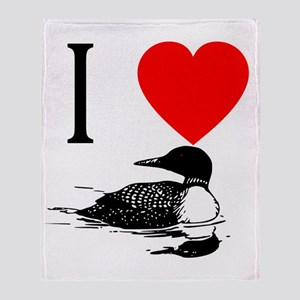 I Heart Loons I Love Loons Throw Blanket