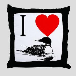 I Heart Loons I Love Loons Throw Pillow