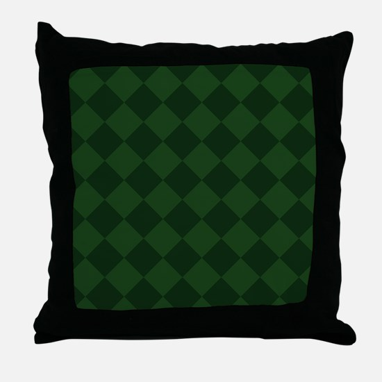 Dark Green Diamond Checkered Throw Pillow