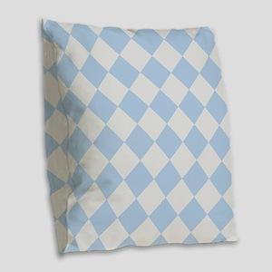 Light Blue Diamond Checkered Burlap Throw Pillow